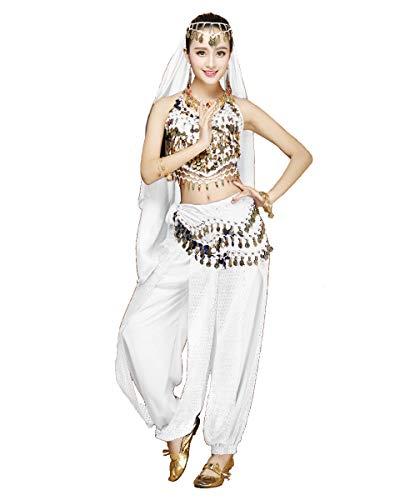 Grouptap Danzatrice del Ventre da Donna Set di Costumi in 4 Pezzi Vestito Bianco con Pantaloni Alti, Sciarpa per Il Velo sulla Testa per la Danza egiziana araba (Bianco, 150-170 cm, 45-65 kg)
