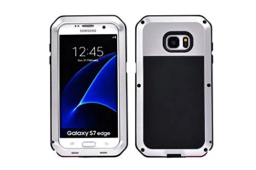 Galaxy S7 Edge Case,Armor Tank Aluminum Metal Shockproof Military Heavy Duty Protector Cover Hard Case for Samsung Galaxy S7 Edge rotector Cover Hard Case for G9350 (silver)