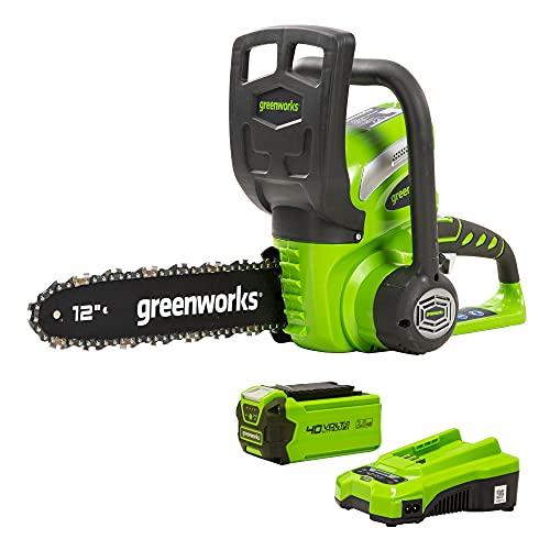 Greenworks Motosierra con mango batería G40CS30K2, Li-Ion 40V 4,2 m/s velocidad de cadena 30 cm longitud de espada 120 ml volumen tanque aceite incluye batería de 2Ah y cargador