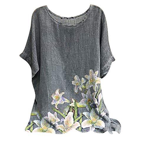 Masrin Baumwolle Leinen T-Shirt für Frauen Vintage Ethnischen Stil Schmetterling Blumen Löwenzahn Moon Star Print Tops Übergroße Kurzarm O-Ausschnitt Lose Tunika Bluse(L,Weiß)