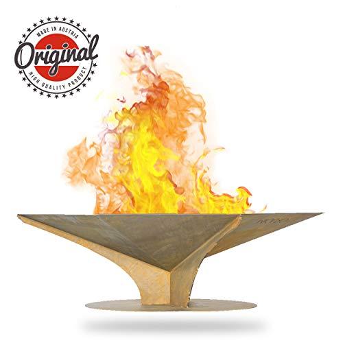 MICARO EDLE Design Feuerschale FIRE I Made in Austria I Premium Feuerschale für den Garten I Gerade Form I Magische Feuerstelle für Sinnliche Momente I 100 x 60 x 30 cm (L, B, H)