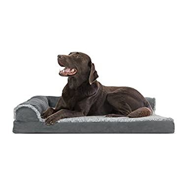 FurHaven Deluxe Orthopedic Chaise Couch Pet Bed for Cats and Dogs, Large, Two-Sided Stone Gray