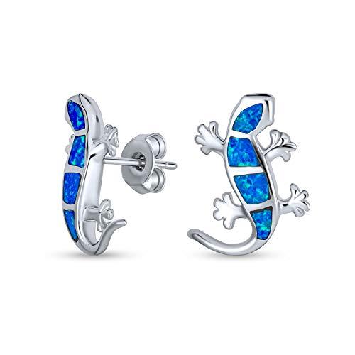 Blue Created Opal Inlay Garden Gecko Lizard Stud Earrings For Women 925 Sterling Silver October Birthstone
