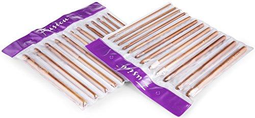 FUSION - Set di 12 di alta qualità di bambù carbonizzati Uncinetti Needles - nei formati 3 millimetri, 3.5mm, 4mm, 4,5 millimetri, 5, 5.5, 6mm, 6,5 millimetri, 7mm, 8mm, 9 mm e 10 millimetri - in una plastica partizionati raccoglitore / cassa