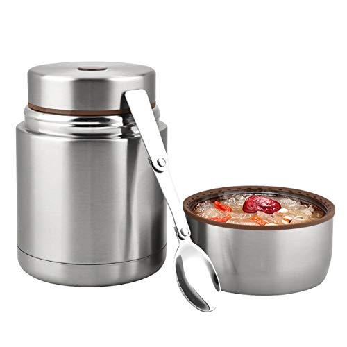 Thermoskanne Boîte à déjeuner isotherme en acier inoxydable 800 ml Bento Lunch Box pour enfants adultes avec cuillère pliable pour l'école, voyages en plein air Or (rose)