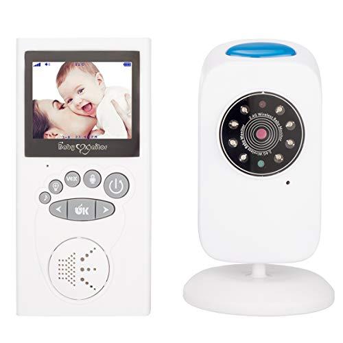 XGLL Vigilabebes, Monitor Digital inalámbrico para bebés de 2,4 Pulgadas, Respuesta bidireccional, Temporizador, Ajuste automático de Brillo, Canciones de Cuna, en Varios Idiomas