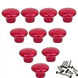 Mallofusa 10pcs Durable Cabinet Knob Wardrobe Drawer Cupboard Pull Handles Ceramic Red