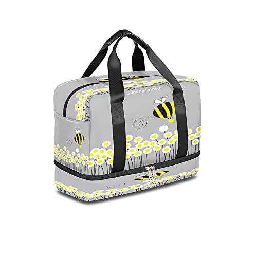 BOLOL Animal Bee Bumblebee Bolsa de viaje para deportes, bolsa de gimnasio, bolsa de semanario Daisy para hombres y mujeres
