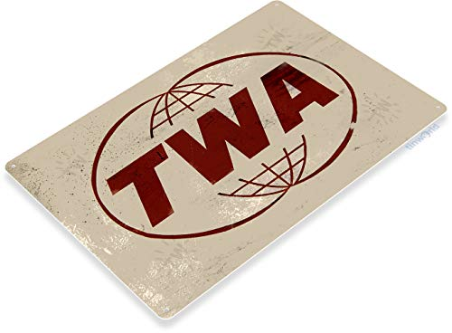 Tinworld TIN Sign 12' x 18' TWA Trans World Airlines Aviation Metal Wall Decor Shop Store A747