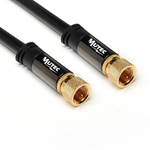 MutecPower 2m Cavo SAT per Antenna Coassiale Connettore F su Connettore F Cavo per Satellite HDTV Full HD Cavo Video Audio Digitale - 2 Metri Nero