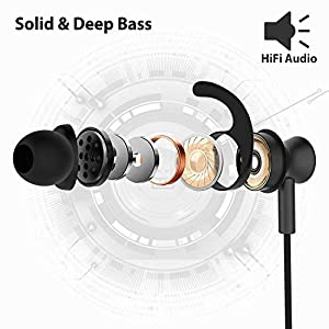 Avantree ME12 Sports Earbuds Wired with Microphone, Sweatproof Running Earphones with Earfin, Metal in Ear Headphones for Workout Exercise Gym, Compatible with iPhone iPod Android Cell Phones PC