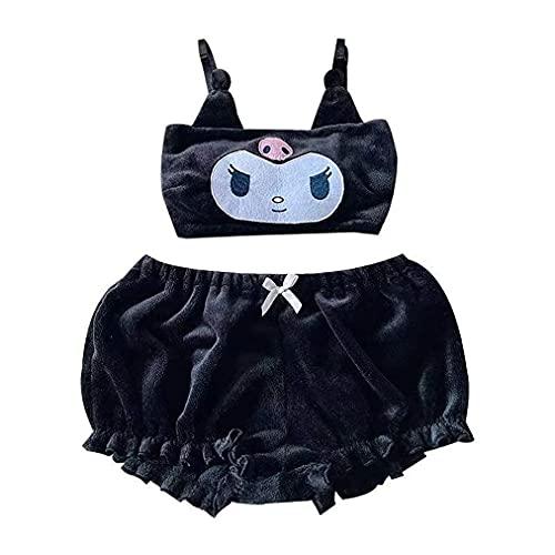 DOSN Conjunto de pijama de terciopelo para mujer, diseño de anime Kuromi grueso S