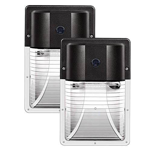 CINOTON 13 W LED pared paquete luz 1600 lm, (fotocélula oscura-a-amanecer, impermeable IP65), 100-277 Vac, 100-200 W MH/HPS reemplazo, iluminación de seguridad al aire libre 5000K (2 paquetes con sensor)