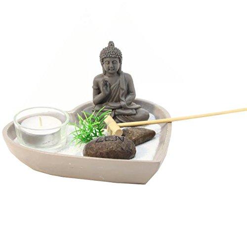 Jardin Zen Japonais Bouddha plateau coeur coloris taupe