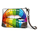 XCNGG Rainbow Lips Dripping Printed Clutch Purse Desmontable Leather Wristlet Wallet Bag Bolso de mujer