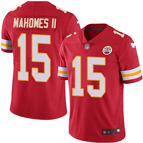 YDYL-LI American Football Kansas City Chiefs # 15 Patrick Mahomes Training Spiel Trikot Atmungsaktiv - Entspannt Und Komfortabel T-Shirt - Sweatshirt, Rot - Streifen,S