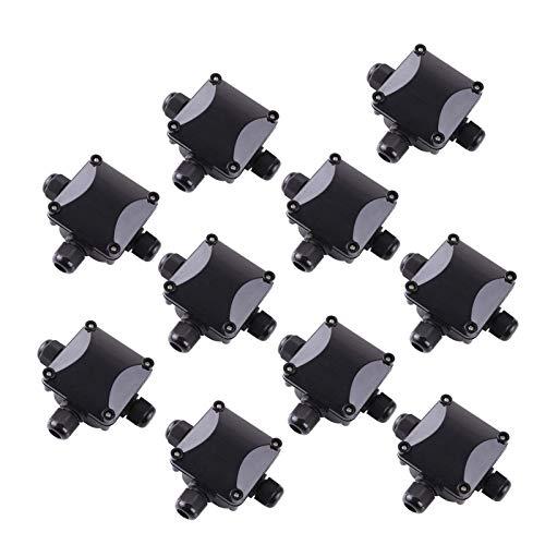 MeiZi 3-Way Junction Box, IP 68 Connecteurs étanche Fit for l'éclairage extérieur Junction Box Externe Pack de 10 Noir (Color : Black)