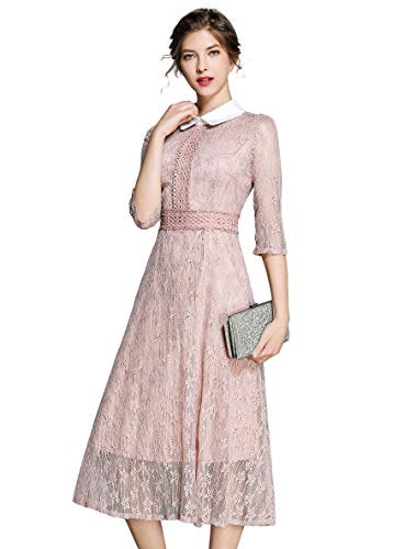 "LAI&MENG Damen 3/4 ""rmel Vintage Puppenkragen Spitzen Abendkleider Cocktail Party Kleid, Rosa, 42 (Asia XL)"