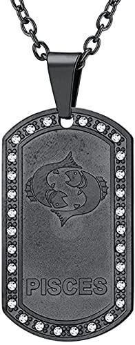 NC198 Moda Negro Zodiaco Piscis Colgante de Acero de Titanio Collar de Acero Inoxidable para Hombre