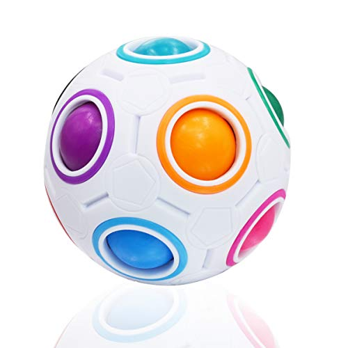 Coolzon Magic Rainbow Ball, Fidget Ball Speed cube Puzzle Ball Cube Rubix Cube Brain Teasers Educational Toy For Kids & Adults, White