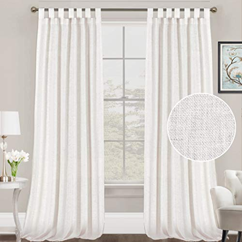 FantasDecor White Linen Curtains Natural Linen Blended Curtains Tab Top Curtains Privacy Added Window Treatments Drapes for Living Room Light Filtering Curtains 2 Panels, 52 by 108 Inches, White