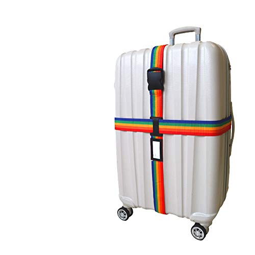 Victory-eu Long Cross Luggage Straps Suitcase Strap Travel Belts - Rainbow