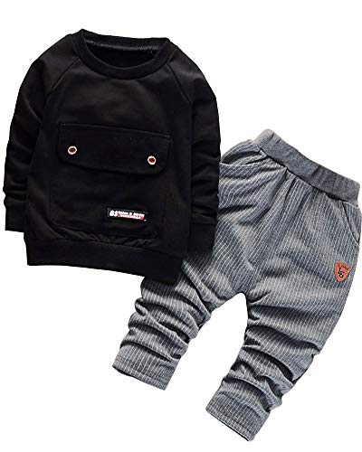 2016 Baby Boys Kids 2 Pieces Fall Clothing Set T-Shirt Pants Outfits(Black,2-3 Years)