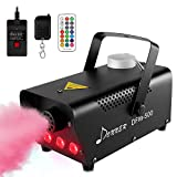 Donner DFM-500 500W Fog Machine with Controllable LED Lights, DJ Smoke Machine with Wireless& Wired Remote Control, 13 Colors Effect, for Thanksgiving Christmas Parties Weddings, with Fuse Protec