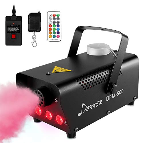 Donner DFM-500 500W Fog Machine with Controllable RGB LED Lights, DJ Smoke Machine with Wireless and Wired Remote Control, 13 Colors, for Thanksgiving Halloween Christmas Parties, with Fuse Protect