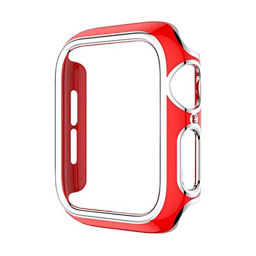 JAAIFC Parachoques de PC de varios colores para la cubierta del reloj Series 6 SE 5 4 3 Funda protectora para reloj de 40 mm, 44 mm, 42 mm, 38 mm (color: rojo plata, diámetro de la esfera: 42 mm)