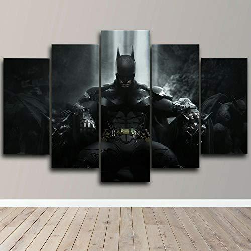 CXHFDC Impresiones en Lienzo Bat Throne The Dark Knight Movie Póster 5 Paneles Pintura Mural de la Pared La Imagen para casa Moderno Decoración Imprimir decoración-40x22inch