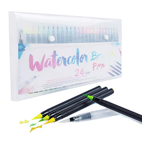 Watercolor Brush Pens Set of 24 Premium Colors Nylon BrushTips and 1 Vibrant Refillable Water Pen,Calligraphy and Drawing with Water Brush for Artists and Beginner Painters
