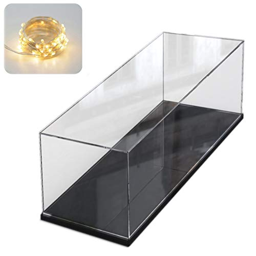 Elepure - Caja de cristal acrílico transparente para colección Lego – Figura mejorada, expositor, caja de exhibición antipolvo con base para juguetes, minifiguras (color negro, 40 x 20 x 20 cm)
