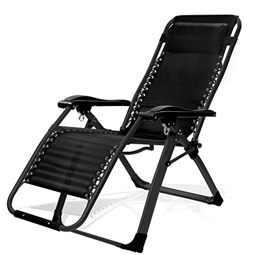 Folding Gravity Sun Lounger Deck Chair Rocking Recliner Garden Bed Reclining Chair With Armrest - For Patio Back Garden Camping Picnic Beach Relaxing Outdoor Comfortable Seat,Black