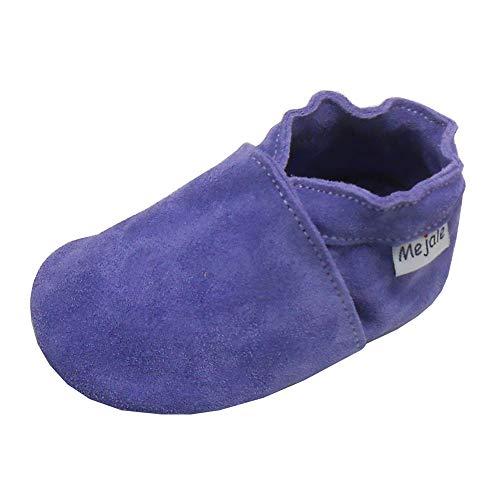 Mejale Baby Boy Girl Sapatos mocassins de couro de sola macia antiderrapante infantil pré-andador, Roxa, 12-18 Months Toddler