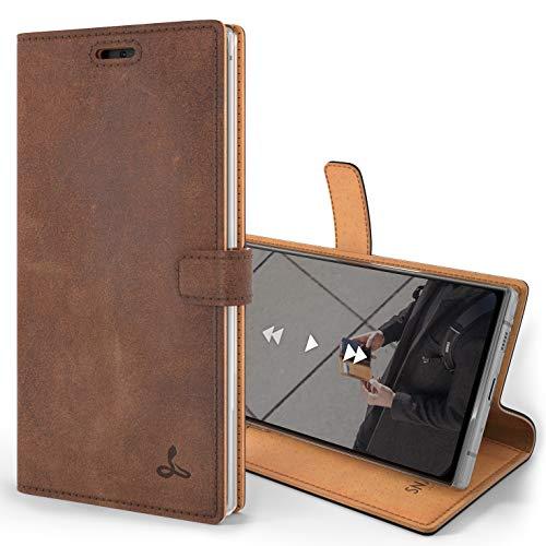 Snakehive Note 10 Plus Schutzhülle/Klapphülle echt Lederhülle mit Standfunktion, Handmade in Europa für Note 10+ - (Braun)