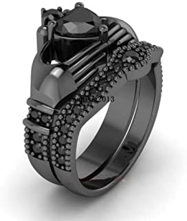 PR Jewelry Claddagh Ring Sets Black Gold Filled 1CT Heart Onyx Cz Women's Wedding Ring Gift (7)