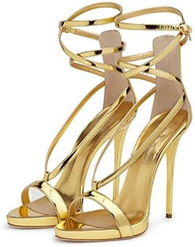 YFF Sandales femmes talon aiguille pu marcher de boucle d'Or,NOUS,9.5-10   EU41   UK7.5-8   CN42