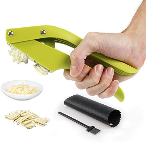 JHK Garlic Press 2 in 1 Garlic Slicer and Garlic Mincer With Cleaning Brush and Silicone Garlic product image