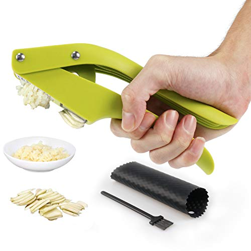 JHK Garlic Press2 in 1 Garlic Slicer and Garlic Mincer With Cleaning Brush and Silicone Garlic Peeler  Easy Squeeze and Clean Kitchen Tools Ergonomic Handle Rust ProofIdeal for Home Kitchen