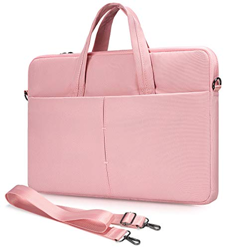 14 Inch Laptop Case with Shoulder Strap for 2020 HP 14 15 Inch/HP Chromebook 14/Stream 14/Elitebook, Acer Spin 5/Swift 3, Lenovo Flex 14/ Yoga C940 C740 730, Dell Asus Samsung Chromebook Bag(Pink)