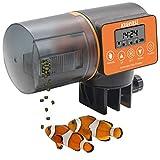 KUIENSI - Comedero automático para pescado de vacaciones para acuarios con sistema a prueba de humedad, alimentación precisa apto para copos granulados y otros alimentos de pescado, Anaranjado, Large