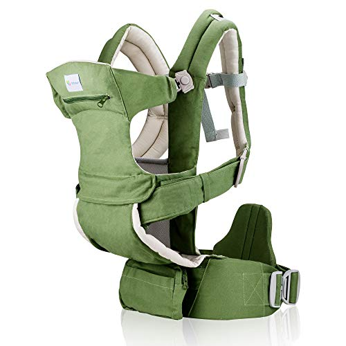 Baby Carrier for Men & Women - All Carry Positions Baby Carrier - Infant Carrier - Backpack Baby Carrier -Hiking Baby Carrier - Cotton (Khaki Green)