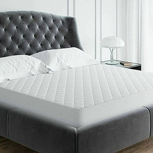 100% Cotton Quilted Extra DEEP Fitted Mattress Protector Single Double King Super King Size (Single (91 x 193CM))