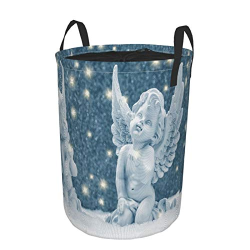 JOSENI Collapsible Large Clothes Hamper for Household,Under The Golden Light The Guardian Angel In The Snow Christmas Decoration,Storage Bin Laundry Basket Waterproof with Drawstring,14' x 19'