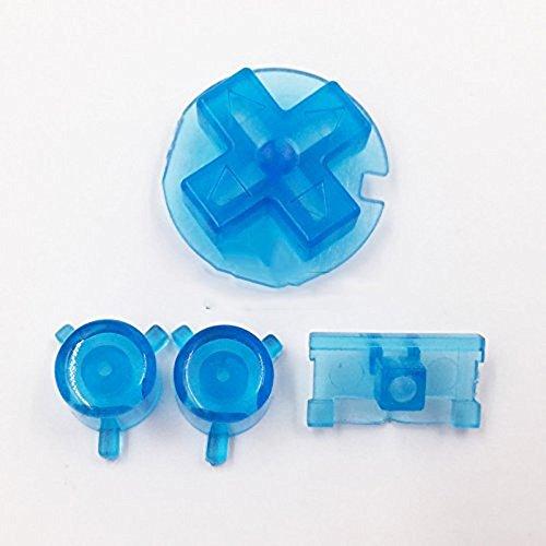 Multicolor Full Set Custom Keypads A B Buttons Mod Kit Button für Game Boy Pocket GBP Ersatzteile – Transparent Blau