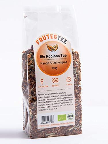 FRUTEG Bio Rooibos Tee Mango & Lemongras 1000 g I Loser Rotbusch-Tee in feinster Blatt-Qualität - koffeinfrei I Exotisch Fruchtig Frisch I Aus kontrolliert biologischem Anbau I 1 kg
