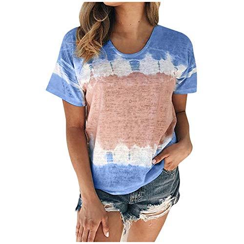 Aniywn Plus Size T-Shirt,Women Summer Casual O-Neck Short Sleeve Printing Patchwork Tunic Tops Basic Shirts Blue