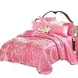 Chung Comfortable Pink Cotone Di Lusso Raso Jacquard Biancheria Da Letto Seta Pizzo Duvet Set Boda Regalo 4 Pz 1 Copripiumino, 1 Lenzuola, 2 Federe (Size : 7 Feet)