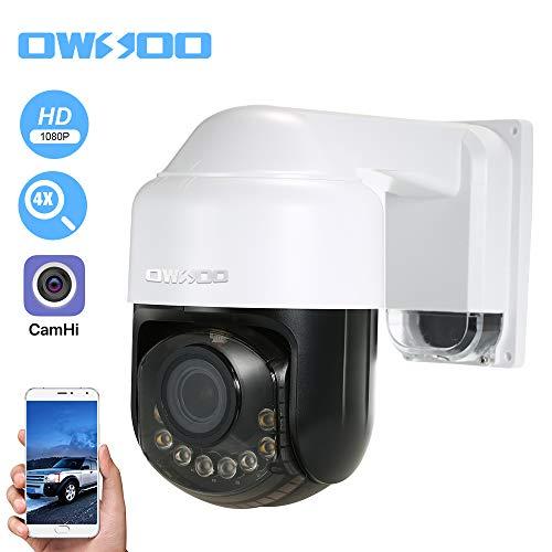 OWSOO 1080P Cámara IP PTZ, Lente de Zoom Óptico 2.8-12 mm, Soporta PTZ, Alarma de Movimiento, Control de Phone, Audio Bidireccional, Vision Nocturna, Ranura para Tarjeta TF, Impermeable